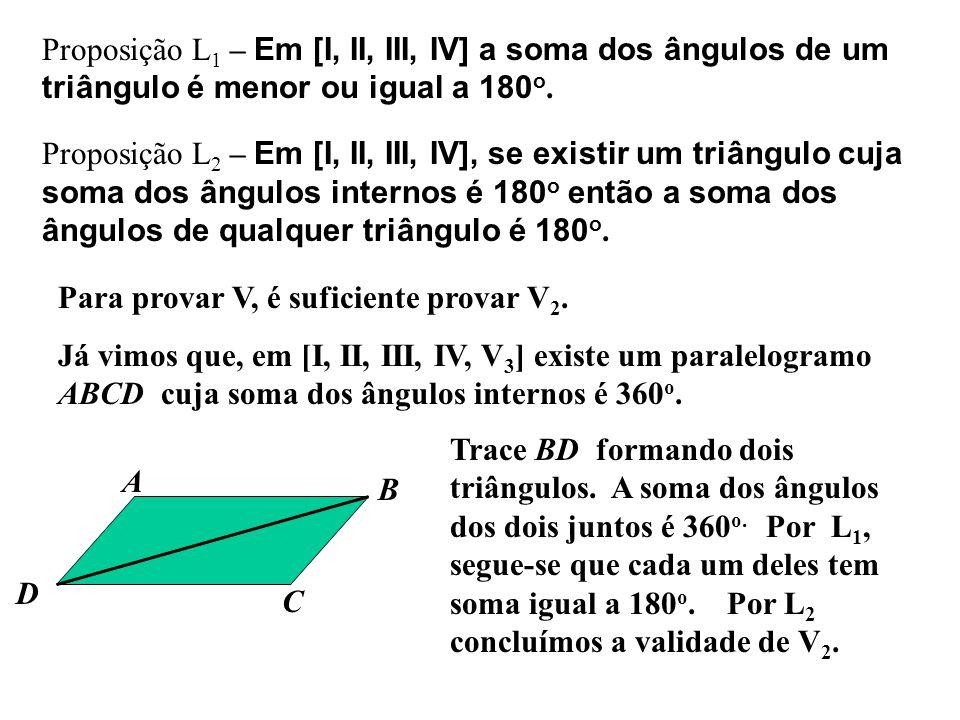 Proposição L1 – Em [I, II, III, IV] a soma dos ângulos de um triângulo é menor ou igual a 180o.